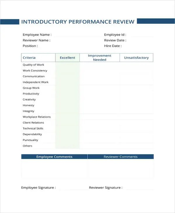 9+ Sample Performance Review Templates - PDF, DOC Free  Premium - monthly appraisal form
