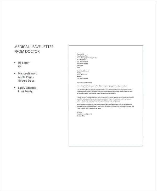 Medical Leave Letter - 12+ Free Word, Excel, PDF Documents Download