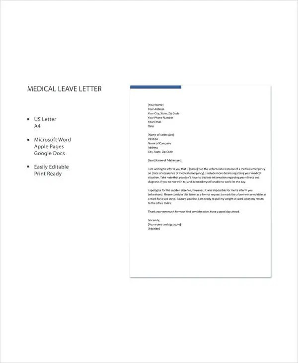 Medical Leave Letter - 12+ Free Word, Excel, PDF Documents Download