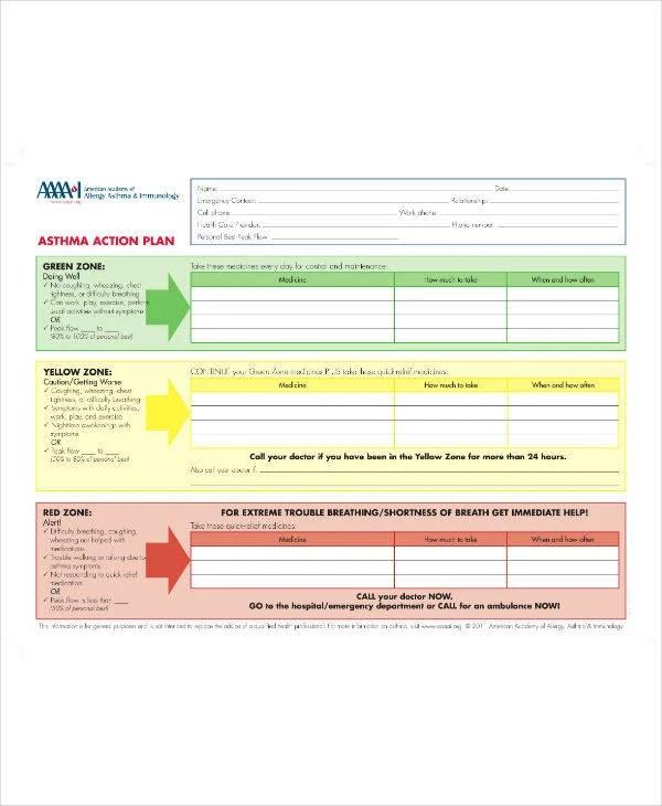 13+ Asthma Action Plan Templates - PDF Free  Premium Templates