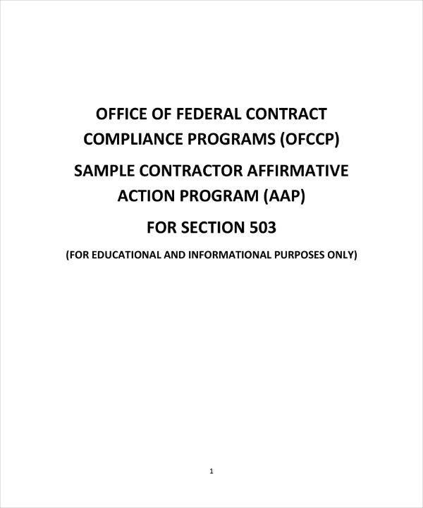7+ Affirmative Action Plan Templates - PDF Free  Premium Templates