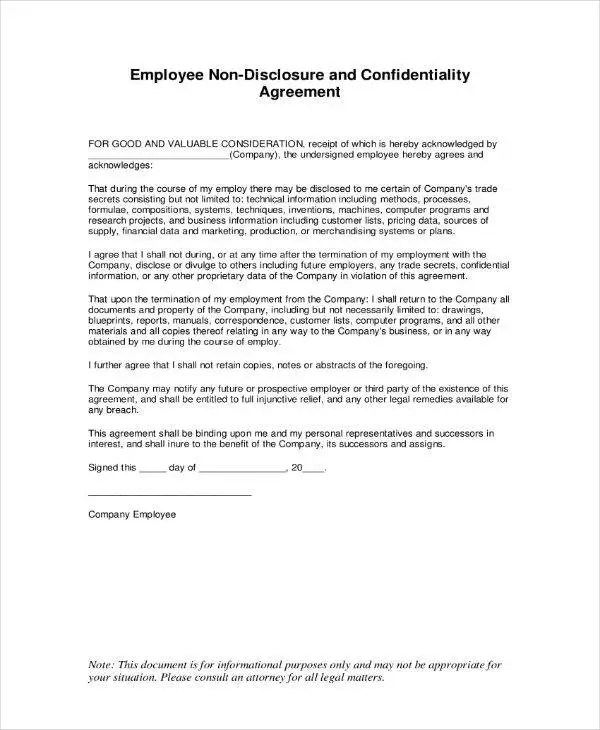 10+ Employee Confidentiality Agreement Templates - PDF Free - financial confidentiality agreements