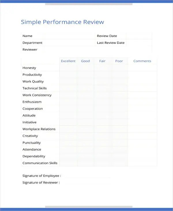 9+ Sample Performance Review Templates - PDF, DOC Free  Premium - performance appraisal template word