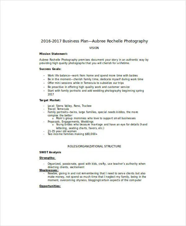 8+ Wedding Photography Business Plan Templates - PDF, DOC Free