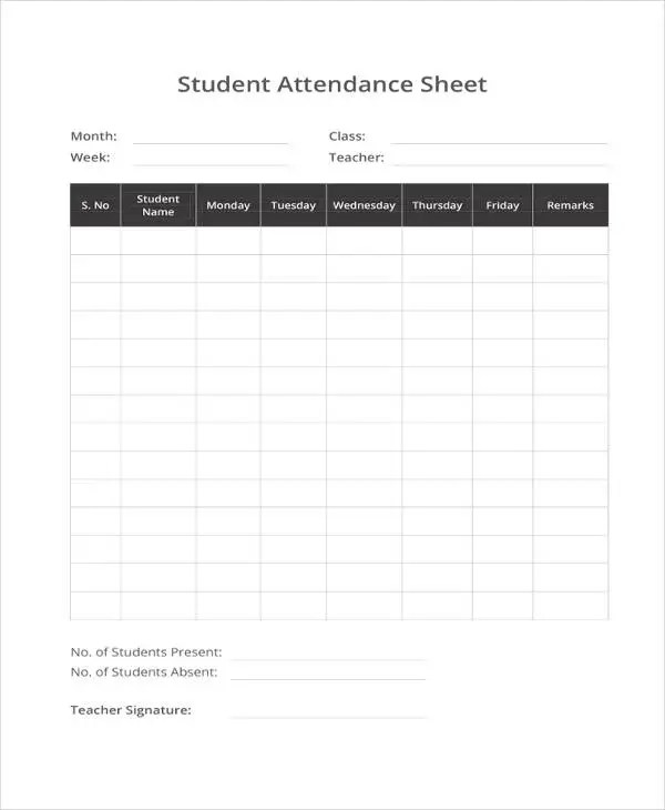 student attendance sheet template sunday school attendance template