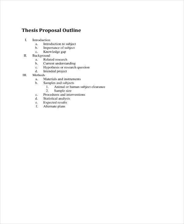 10+ Thesis Proposal Outline Templates - PDF Free  Premium Templates