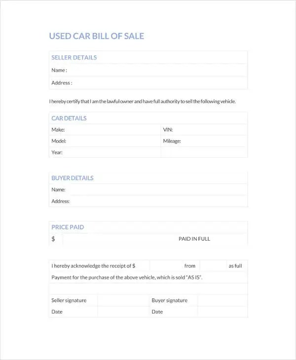 Bill of Sale Template - 44+ Free Word, Excel, PDF Documents - free bill of sale template word