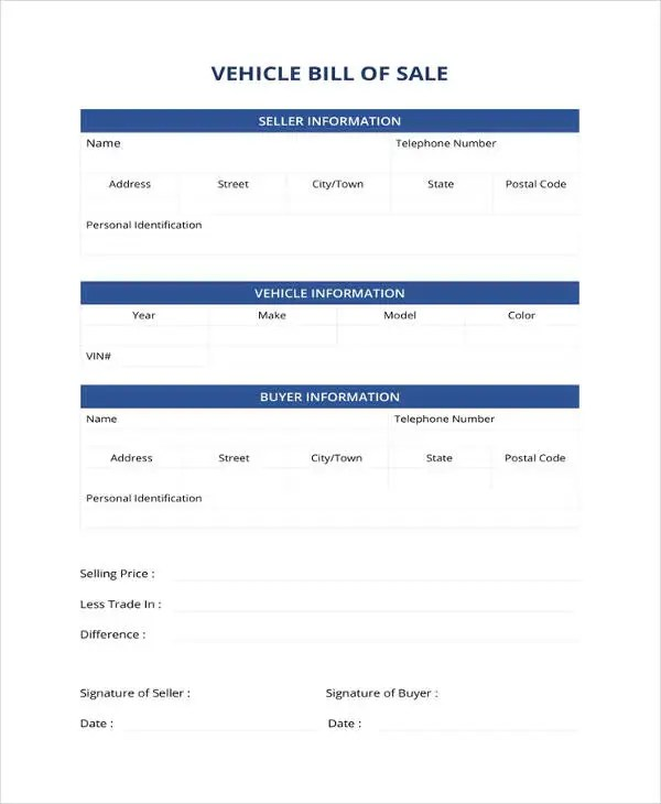 Generic Bill of Sale Template - 12+ Free Word, PDF Document