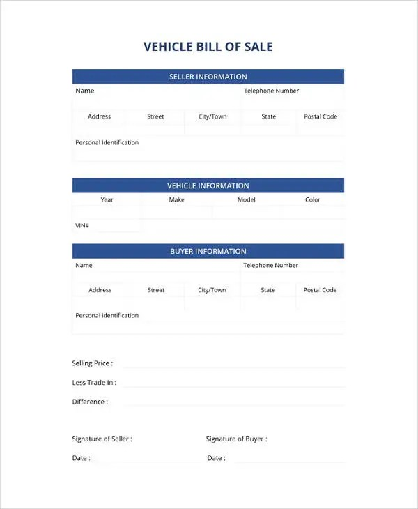 Vehicle Bill of Sale Template - 14+ Free Word, PDF Document