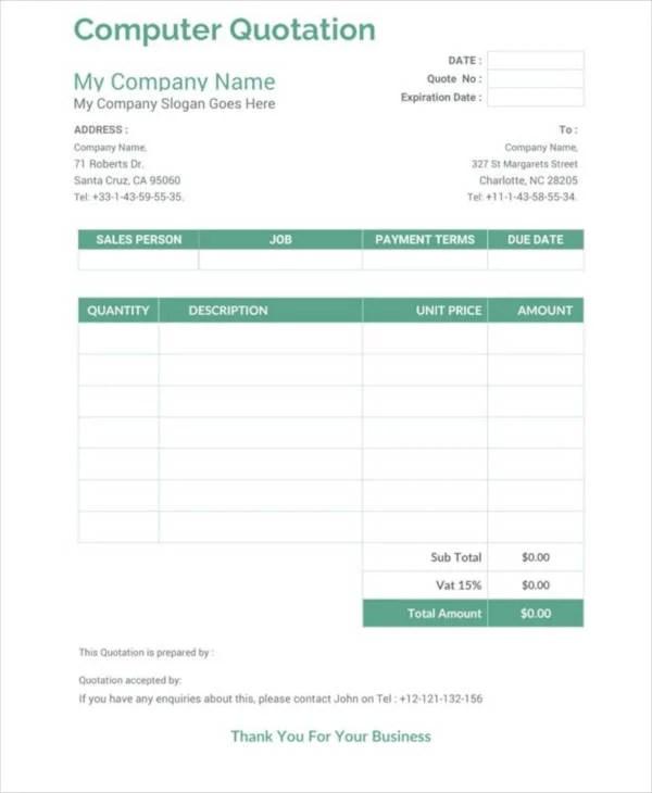 18+ Price Quotation Templates - DOC, PDF,XLS Free  Premium Templates