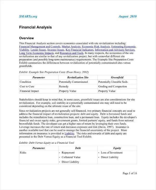 10+ Project Financial Analysis Template and Samples - PDF Free