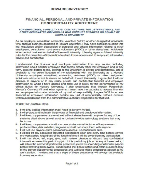 12+ Financial Confidentiality Agreement Templates - PDF, Word Free