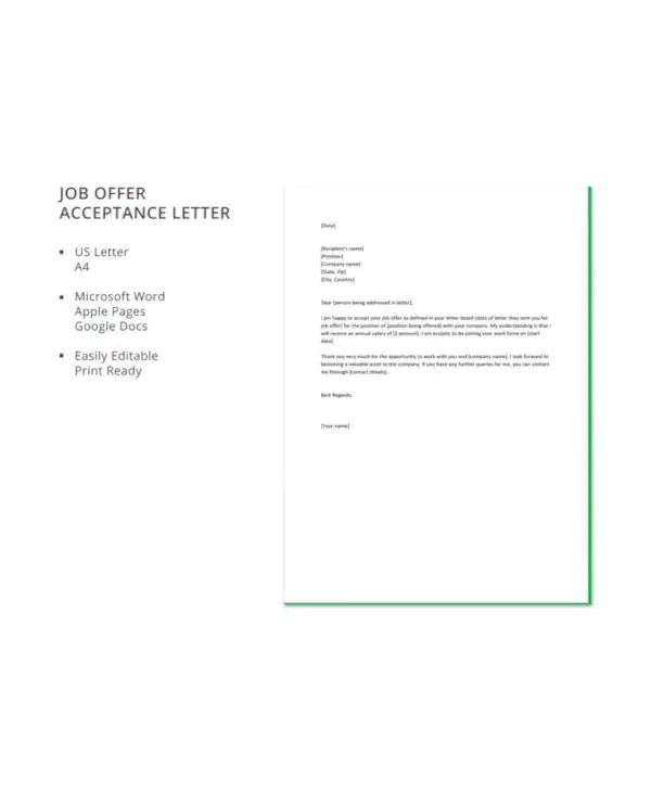 Job Acceptance Letter - 9+ Free Word, PDF Documents Download Free