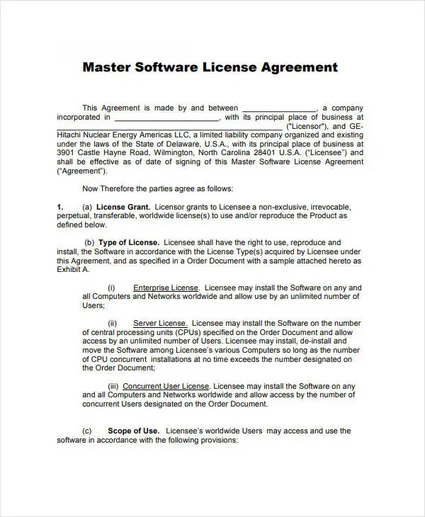 10+ Software Development and License Agreement Templates - PDF - sample software license agreement
