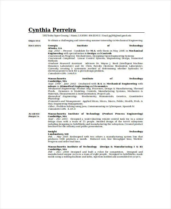 10+ Mechanical Engineering Resume Templates - PDF, DOC Free