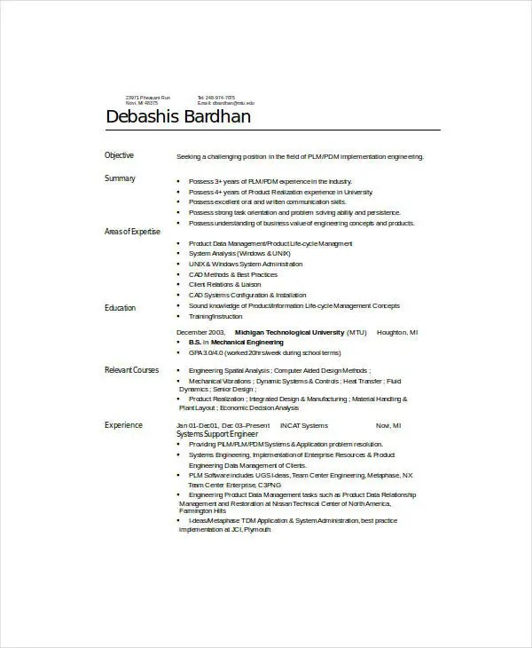 9+ Mechanical Engineering Resume Templates - PDF, DOC Free