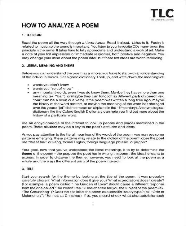 9+ Poetry Analysis Templates - PDF Free  Premium Templates