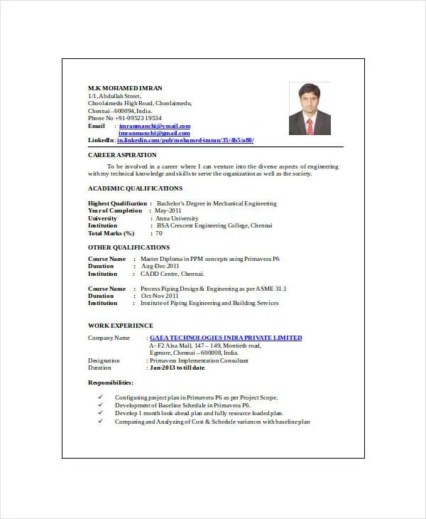10+ Mechanical Engineering Resume Templates - PDF, DOC Free