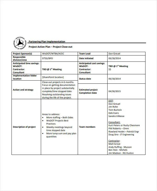 6+ Project Action Plan Templates - PDF, Word, Apple Pages Free