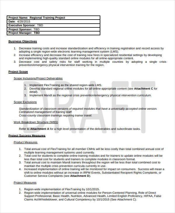 8+ Training Project Plan Templates - PDF, DOC Free  Premium Templates