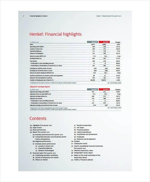 7+ Quarterly Financial Report Templates - PDF, DOC Free  Premium