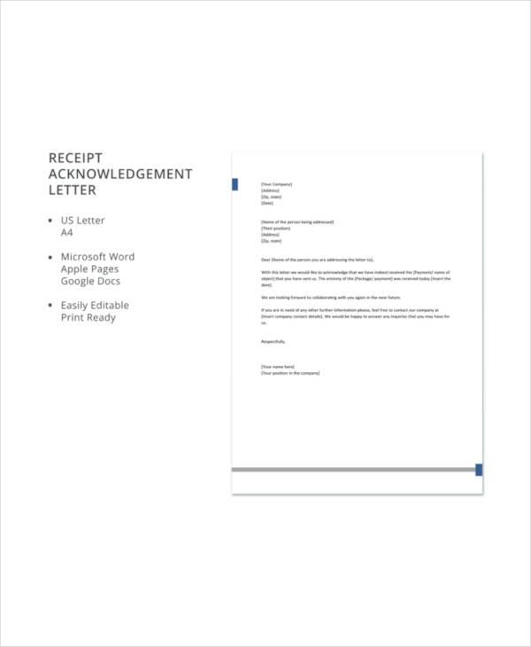 Receipt Acknowledgement Letter Templates - 10+ Free Word, PDF Format