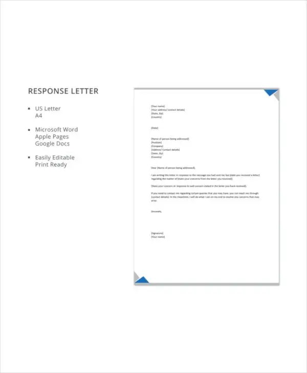 18+ Response Letter Template - Free Sample, Example Format Download - response letter template