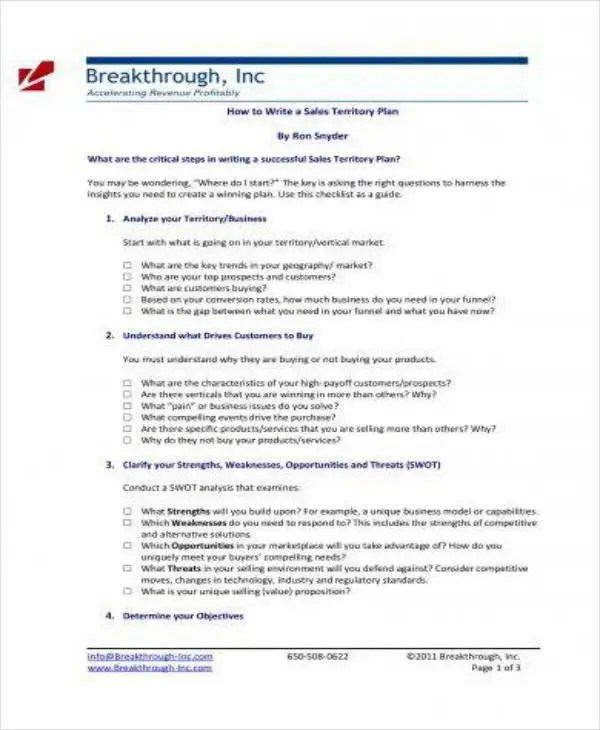 7+ Territory Sales Plan Templates - PDF Free  Premium Templates