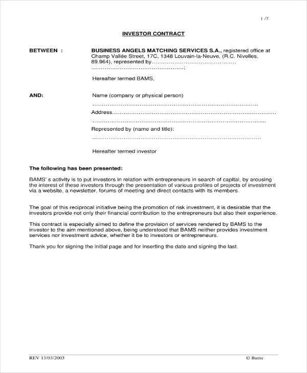 5+ Small Business Investment Agreement Templates - PDF, Word, Apple