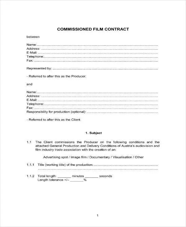 7+ Film Production Contract Templates - PDF, Word Free  Premium