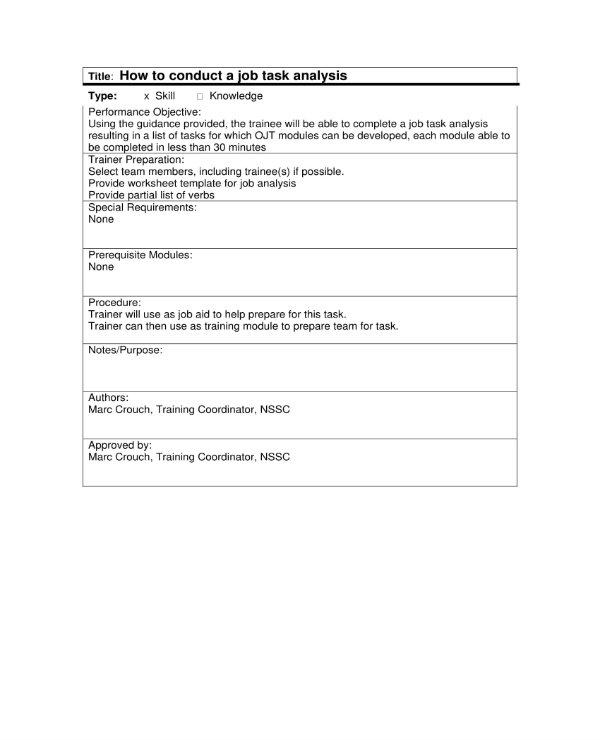 4+ Job Task Analysis Templates - Word, PDF Free  Premium Templates