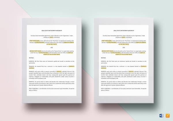 6+ Real Estate Partnership Agreement Templates - PDF, Word, Apple