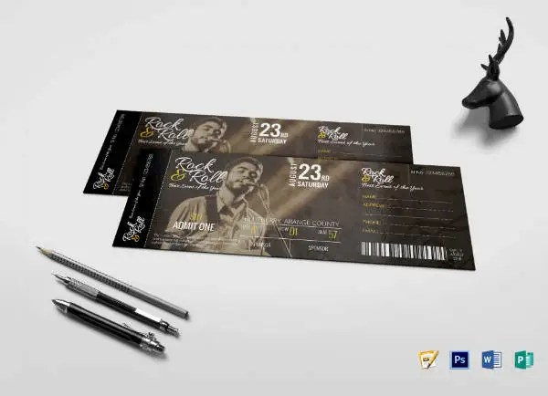 11+ Musical Concert Ticket Designs  Templates - PSD, AI, Word
