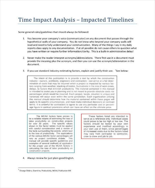 3+ Time Impact Analysis Templates - PDF Free  Premium Templates