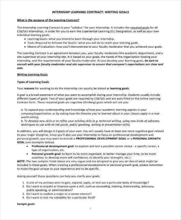 9+ Student Learning Contract Templates - PDF, Word, Google Docs