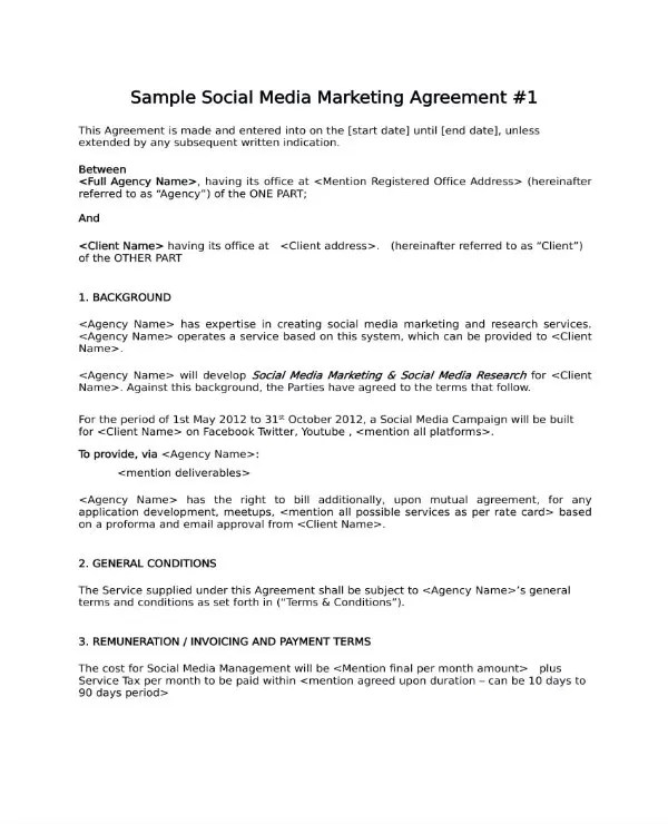 3+ Social Media Marketing Contract - PDF Free  Premium Templates