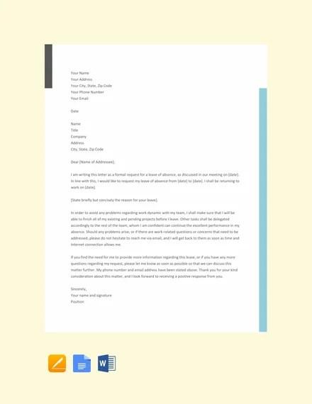 25+ Leave Letter Templates - PDF, DOC Free  Premium Templates