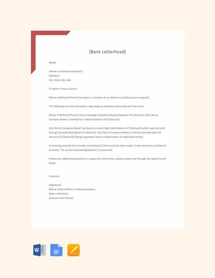 8+ Sample Bank Reference Letter Templates - PDF, DOC Free