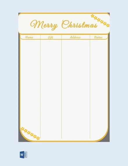 Christmas List Template - 17+ Free PDF, Word Documents Download