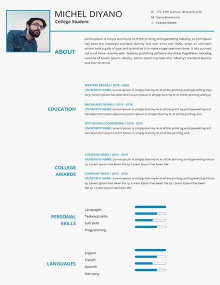 36+ Student Resume Templates - PDF, DOC Free  Premium Templates