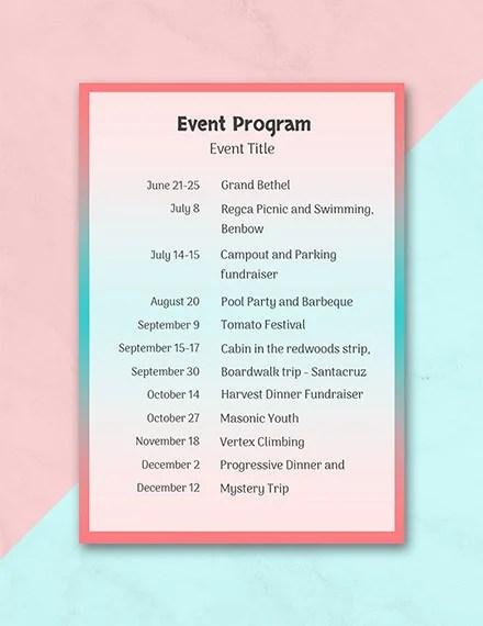 37+ Sample Event Program Templates - PSD, AI Free  Premium Templates