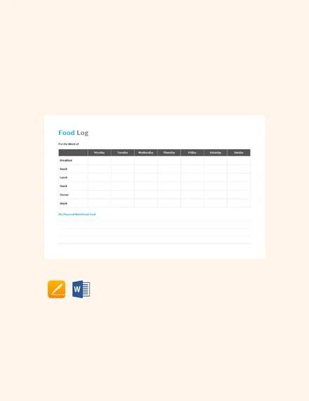 30+ Food Log Templates - DOC, PDF, Excel Free  Premium Templates