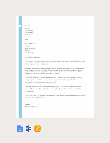 16+ Customer Complaint Letter Templates - PDF, DOC Free  Premium