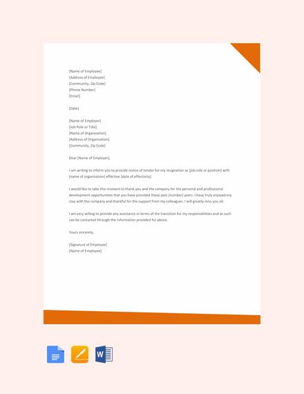22+ Resignation Letter Examples - PDF, DOC Free  Premium Templates