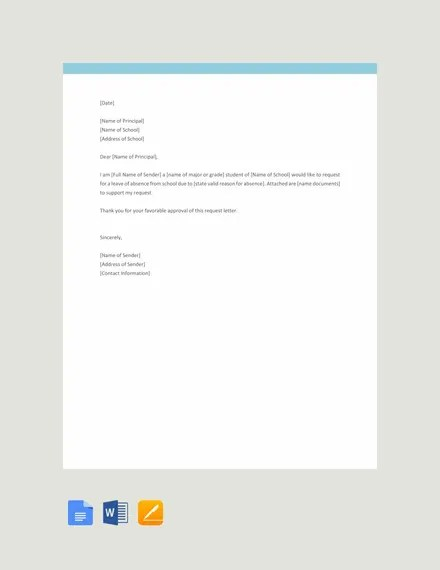 12+ Request Letter to a Principal Templates- PDF Free  Premium