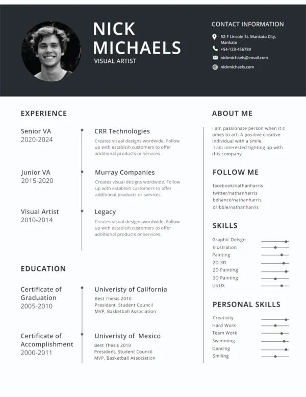 simple and attractive resume format
