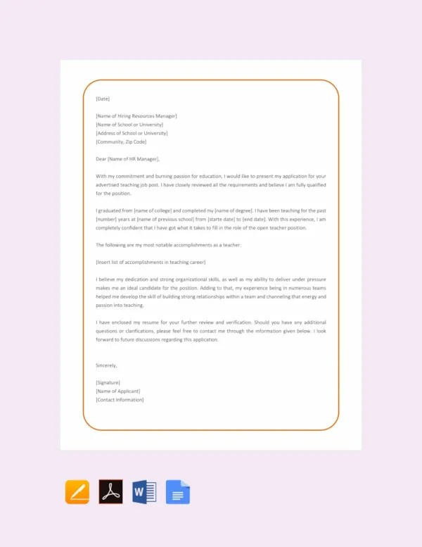 FREE Simple Application Letter for Teacher Job Template Download