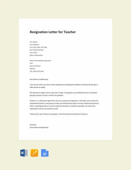 14+ Teacher Resignation Letter Templates - PDF, DOC Free  Premium