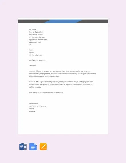 16+ Sample Thank You Letters for Donations - DOC, PDF Free