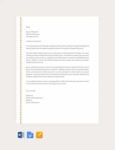 10+ Immigration Reference Letter Templates - PDF, DOC Free